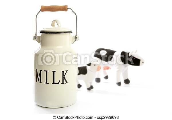 Milk urn white pot traditional farmer style - csp2929693