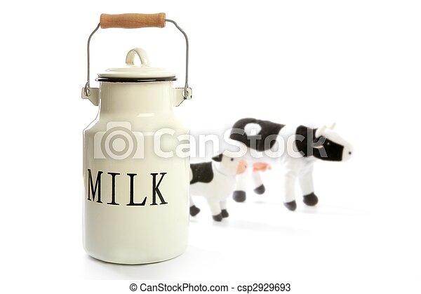 Milk urn white pot traditional farmer style - csp2929693