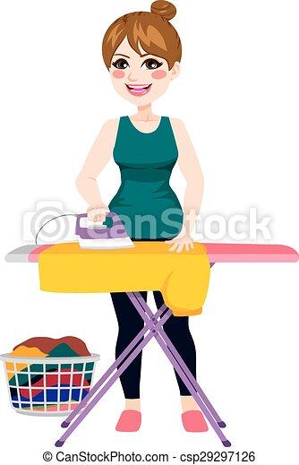 Illustration vecteur de repassage femme chemise - Repasser une chemise sans fer ...