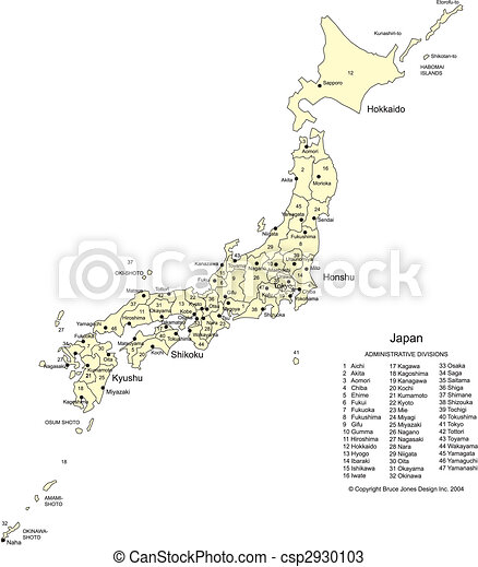 Japan with Cities, Capital and Administrative Districts - csp2930103