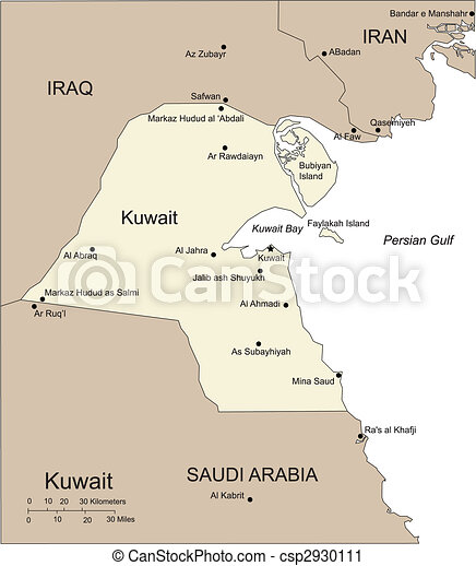 Kuwait, Major Cities and Capital and Surrounding Countries - csp2930111