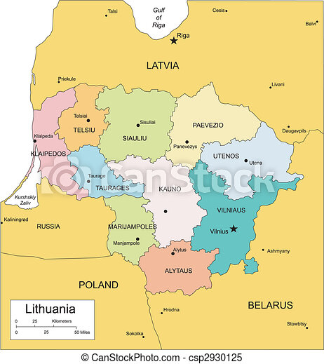 Lithuania with Administrative Districts and Surrounding Countries - csp2930125