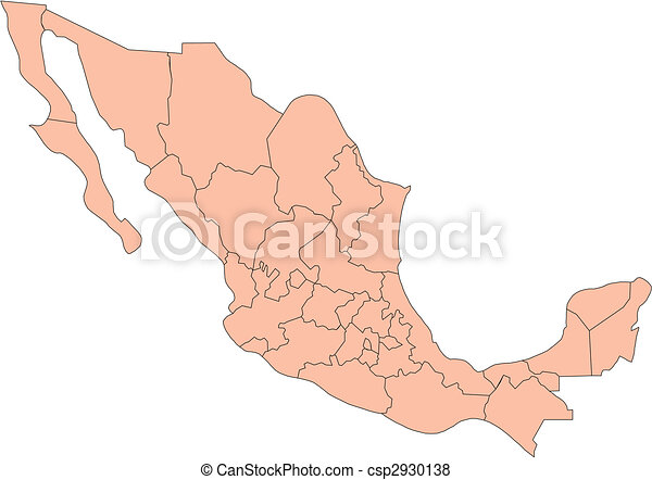 Mexico with Administrative Districts - csp2930138