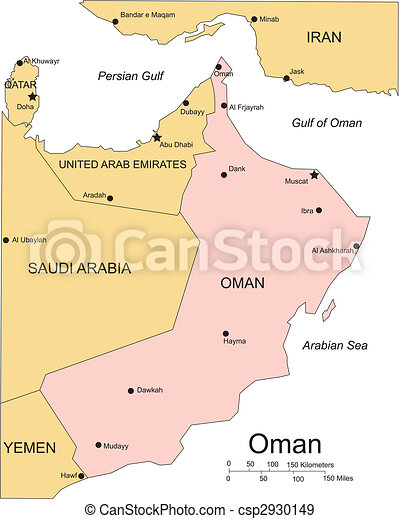 Oman, Major Cities and Capital and Surrounding Countries - csp2930149