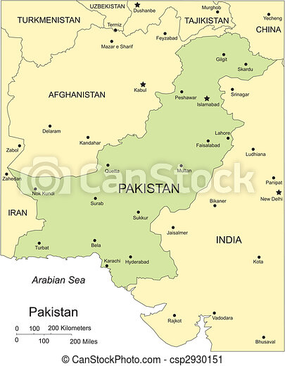 Pakistan, Major Cities and Capital and Surrounding Countries - csp2930151