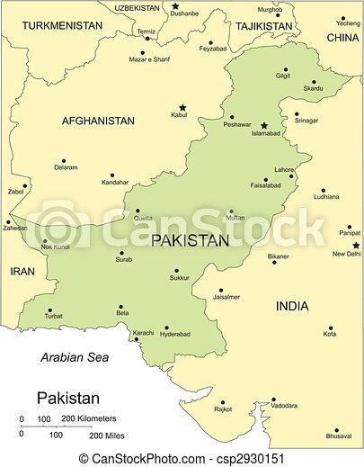 Pakistan, Major Cities and Capital and Surrounding Countries - csp2930151