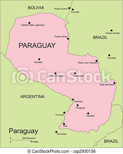 Paraguay, Major Cities and Capital and Surrounding Countries - csp2930156