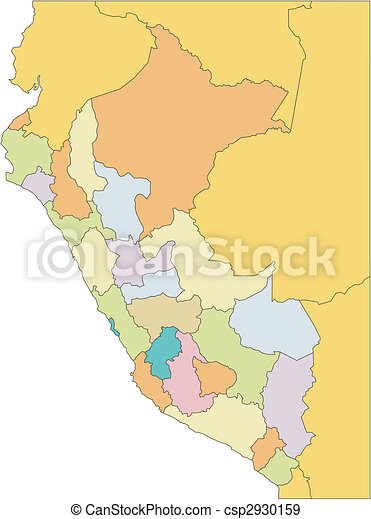 Peru with Administrative Districts and Surrounding Countries - csp2930159