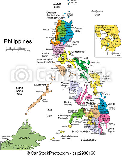 Philippines with Administrative Districts and Surrounding Countries - csp2930160