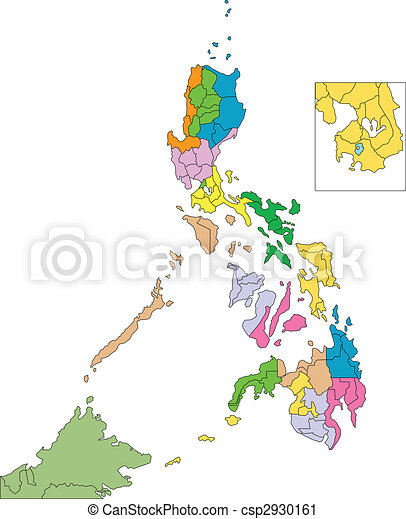 Philippines with Administrative Districts and Surrounding Countries - csp2930161