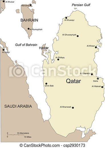 Qatar, Major Cities and Capital and Surrounding Countries - csp2930173