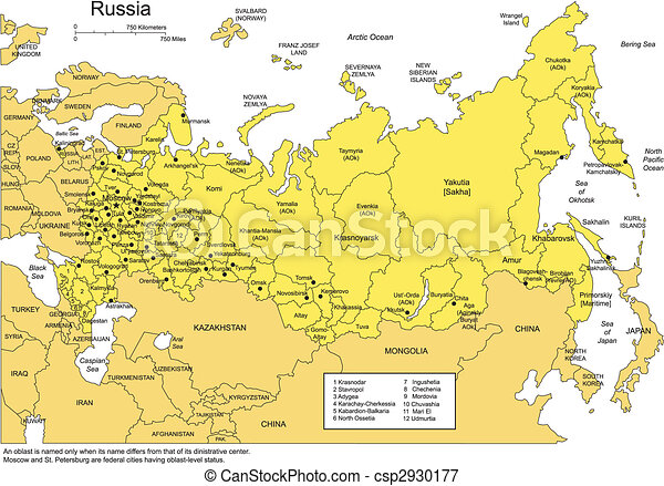Russia with Administrative Districts and Surrounding Countries - csp2930177
