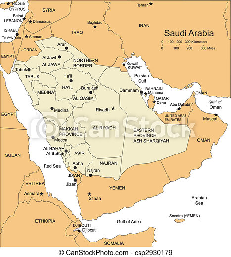 Saudi Arabia, Administrative Districts, Capitals and Surrounding Countries - csp2930179