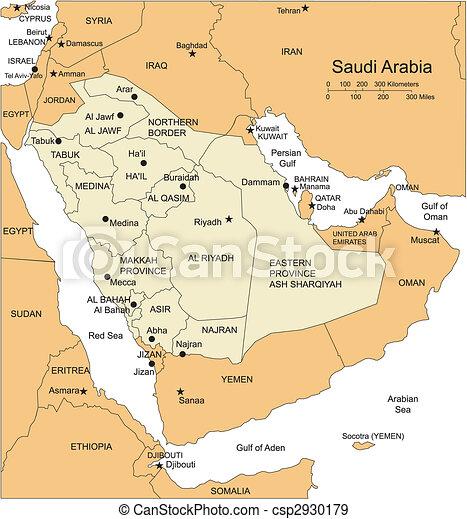 沙特, 阿拉伯半岛, editable, 矢量, 地图, 打破, 下来, 管理, 地区