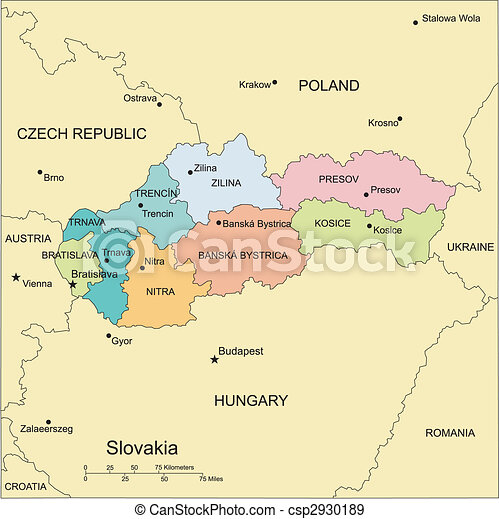 Slovakia with Administrative Districts and Surrounding Countries - csp2930189
