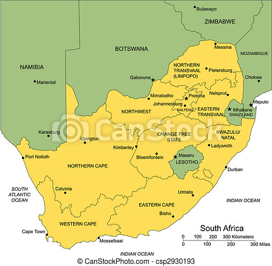 South Africa with Administrative Districts and Surrounding Countries - csp2930193