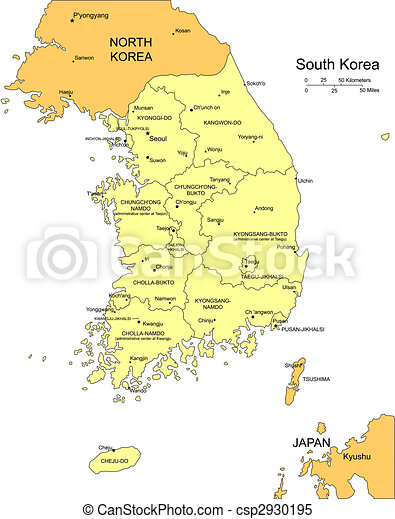 South Korea with Administrative Districts and Surrounding Countries - csp2930195