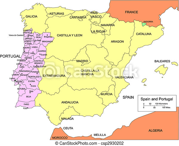 vector illustration of spain and portugal with regions and