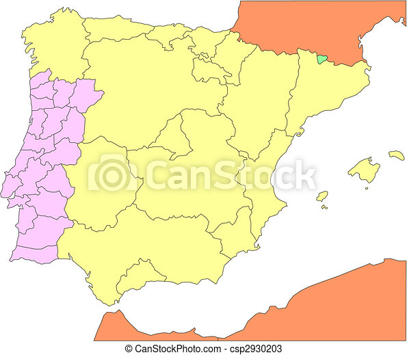 Spain and Portugal with Regions and Surrounding Countries - csp2930203