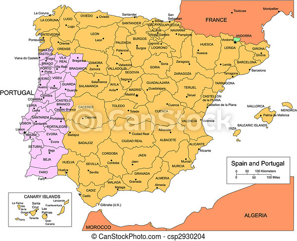 Spain and Portugal with Administrative Districts and Surrounding Countries - csp2930204