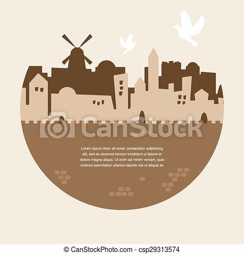 skyline of old city of Jerusalem - csp29313574