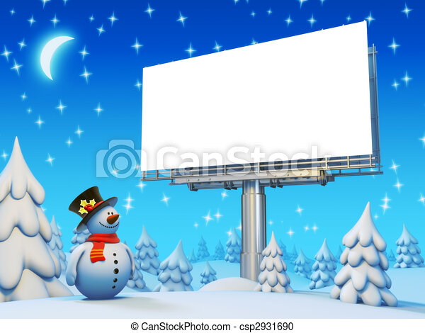 Copyspace billboard and snowman series - csp2931690