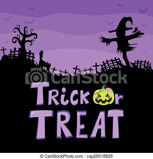 Trick Or Treat Scarecrow Cemetery - csp29318829