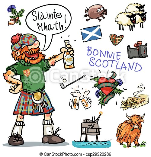 Bonnie Scotland cartoon clipart collection - csp29320286