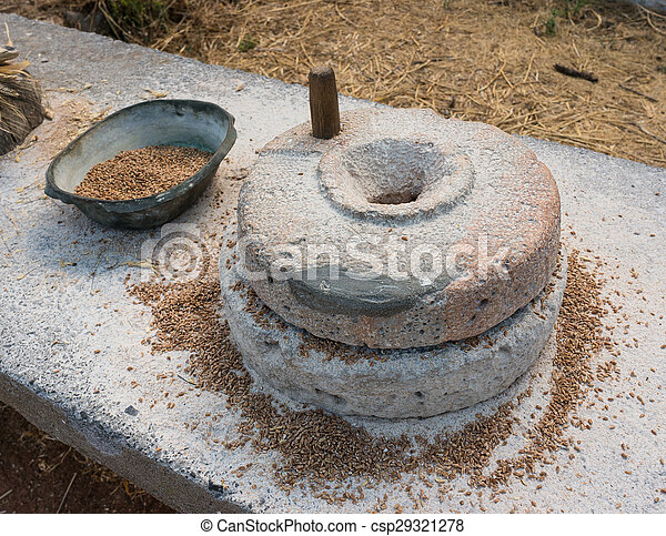Ancient grain grinding millstones