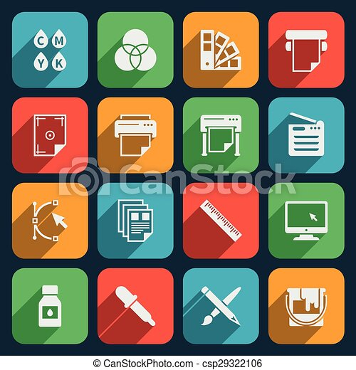 Vector Clipart of Publisher and printing house icons. Printer and ...