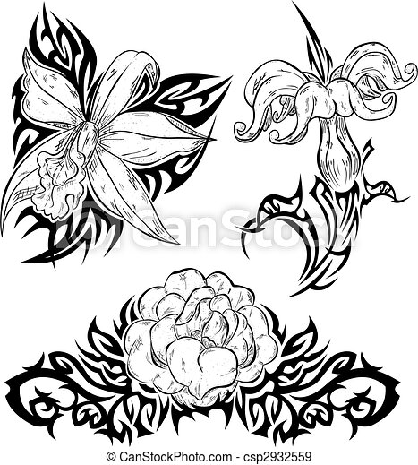 Fantasme Main Dessin Fleurs orchids Rose Tribal lments