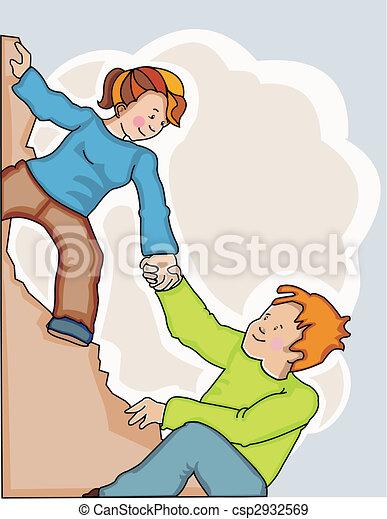 Woman helping man climb sharp cliff - csp2932569