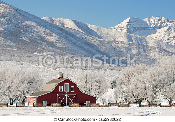 Red Winter Barn - csp2932622