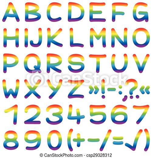 Clip art vecteur de couleurs arc en ciel police lettre - Can font les franqueses ...