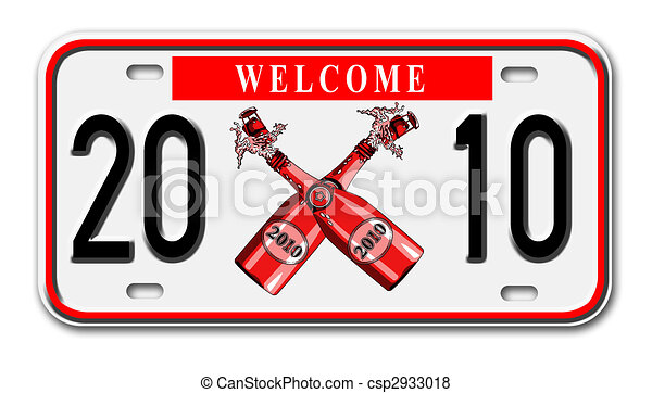 car license plate with new year 2010 on it - csp2933018
