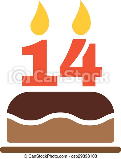 Vector Clipart of The birthday cake with candles in the ...