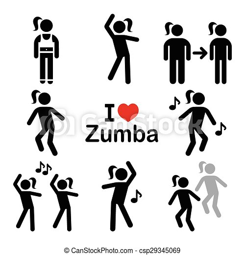 Clip Art Vector of Zumba dance, workout fitness icons - Keeping ...