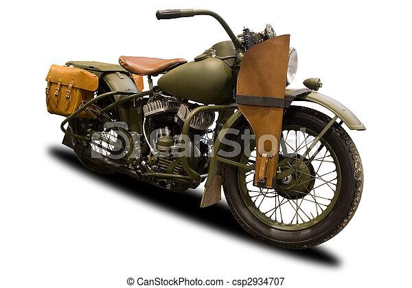 antikvitet, militär, motorcykel - csp2934707