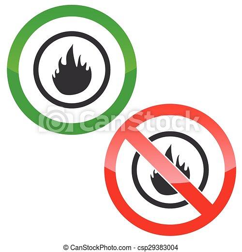 vektor clipart von feuer erlaubnis zeichen schilder erlaubt und csp29383004 suchen. Black Bedroom Furniture Sets. Home Design Ideas