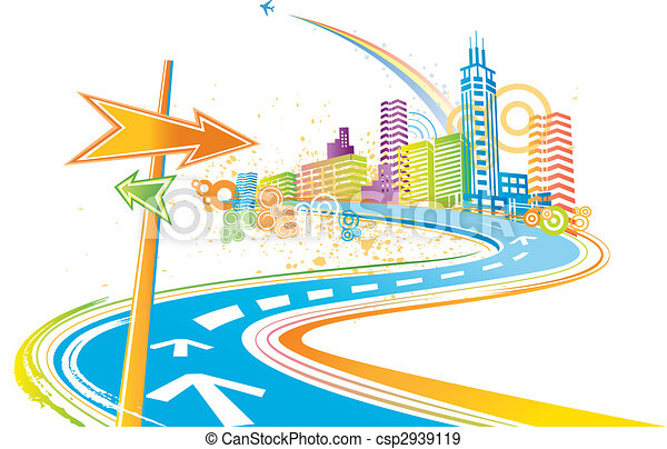 colorful city background - csp2939119