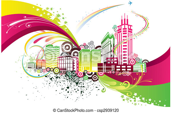 colorful city background - csp2939120
