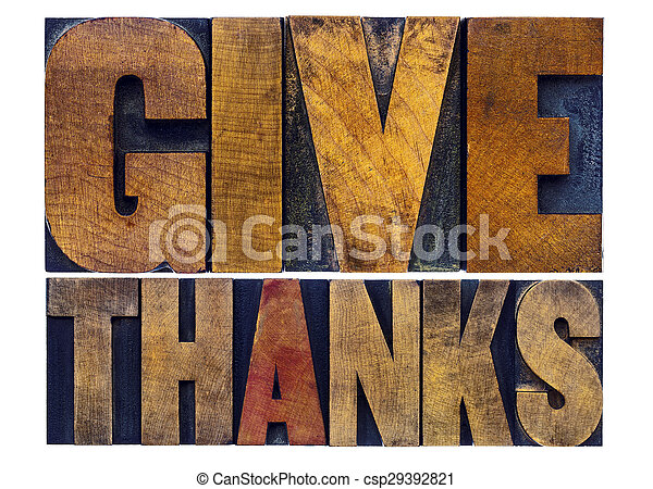 give thanks  word abstract in wood type - csp29392821