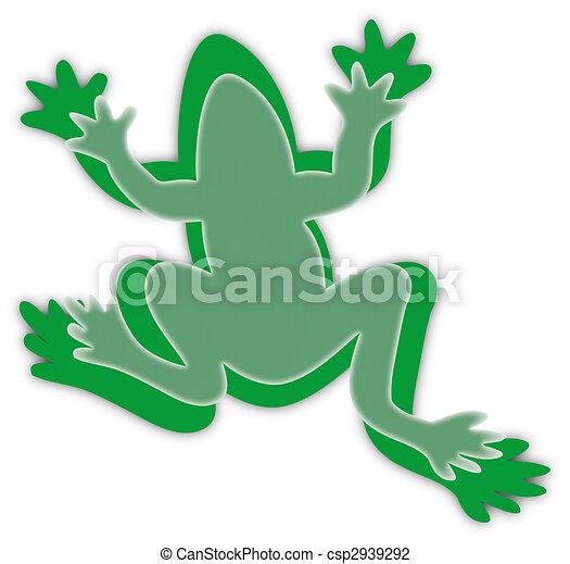 green frog silhouettes on white - csp2939292