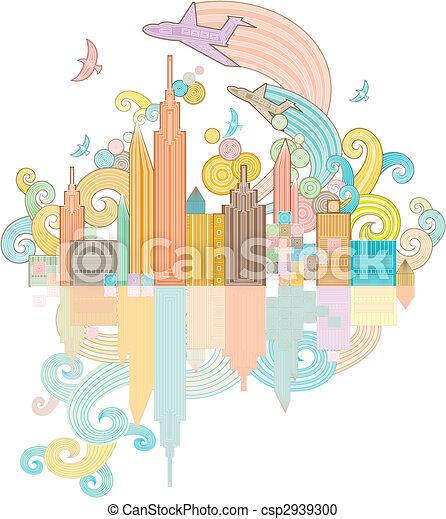 funky city background - csp2939300