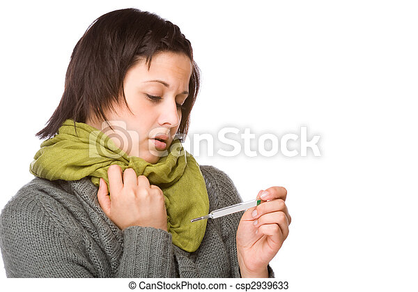 Woman With Clinical Thermometer - csp2939633