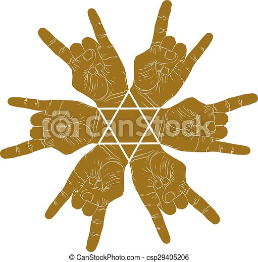 Vector Clipart of Six rock hands abstract symbol with ...