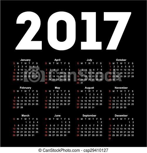 Calendar for 2017 on black
