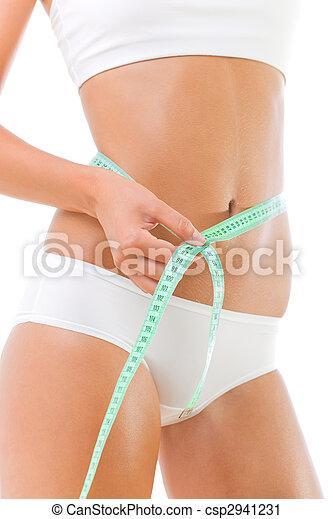 Beautiful slim woman measuring her waist - csp2941231