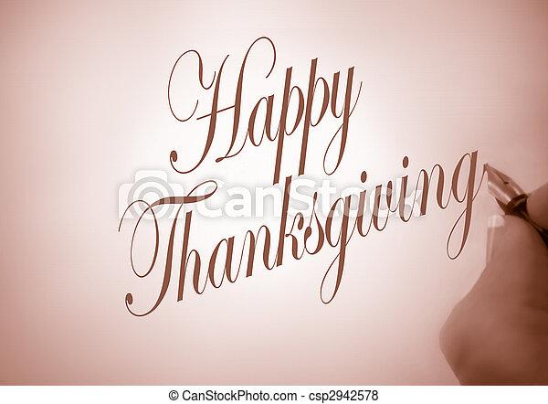 callligraphy happy thanksgiving - csp2942578