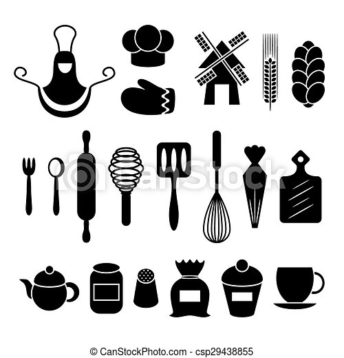 Kitchen Tools Drawings vector clipart of baking pastry kitchen tool - a big set of bakery